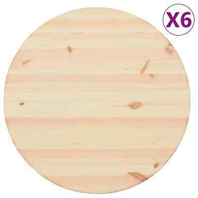 vidaXL 6x Table Tops Natural Pinewood Round 25mm 60cm Replacement Desk Tops
