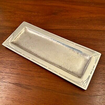 Important Erik Magnussen Sterling Silver Arts & Crafts Hand Hammered Small Tray