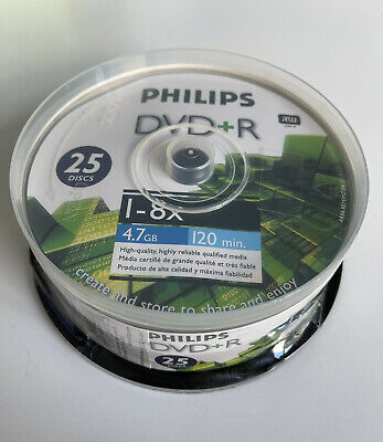 PHILIPS DVD+R Spindle 25 Pack 8X / 4.7GB / 120 Min - Brand New Sealed FREE SHIP