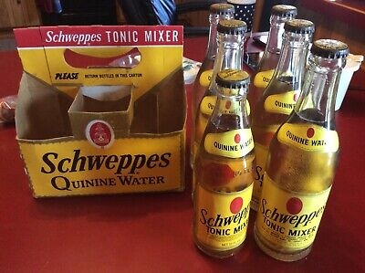 6 unopened FULL 12 & 10 oz SCHWEPPES QUININE WATER TONIC MIXER BOTTLE w/CARTON