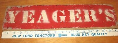 Vintage YEAGER'S Bakery Painted Wooden Sign 18 X 4 !/4 inches