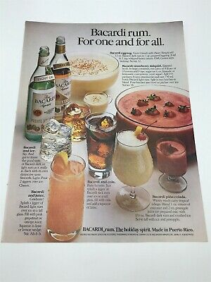 1982 Bacardi Rum Superior vintage photo print ad Recipes Cocktails Holiday