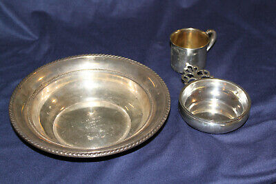 3 Misc Sterling Items Lg. bowl Trophy, Wine Coaster & Baby Cup 394.8 Grams