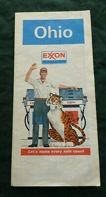 Vintage Exxon Paper Road Map of Ohio with Gas Pumps and Tiger
