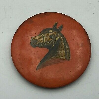"""Vintage 1-3/4"""" Horse Head Pocket Mirror MISSING THE MIRROR Not A Pin  S1"""