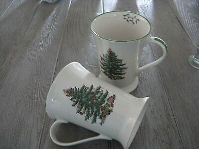 """2 Spode by Pimpernal CHRISTMAS TREE Footed Mugs 4-5/8"""" Exc."""