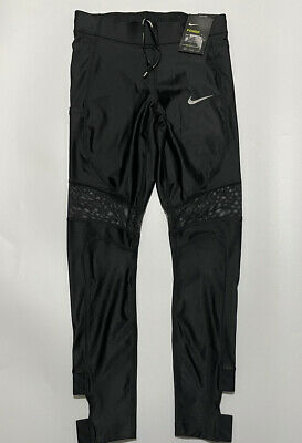 Nike Power Speed 7/8 Tight Fit Reflective Running Tights Large Black Aj8813 011