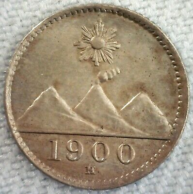 1900 H Guatemala Copper Nickel 1/4 Real Coin Uncirculated Sun Above 3 Mountains