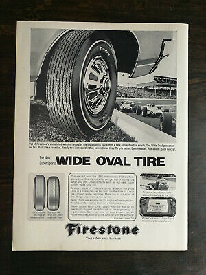 Vintage 1967 Firestone Wide Oval Tires Full Page Orignal Ad