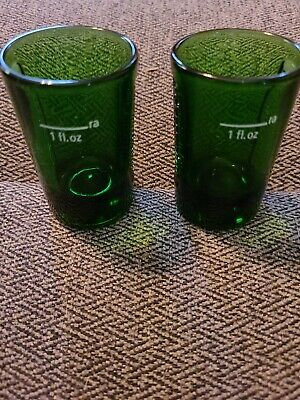 Set Of 2 Forest Green Jagermeister Shot Glasses With Logo