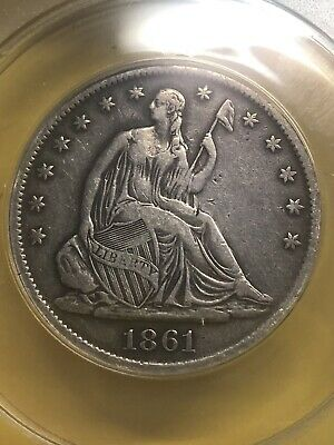 1861-S Seated Liberty Half Dollar; Anacs Vf-30 Details; Cleaned