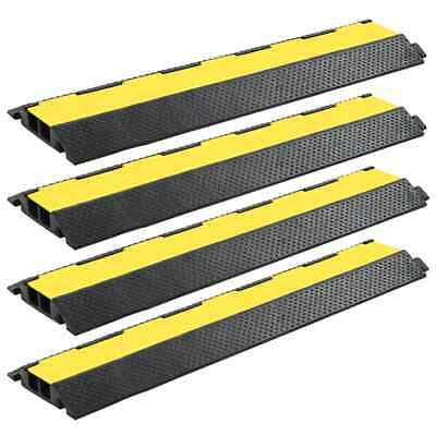 vidaXL 4x Cable Protector Ramps 2 Channels Rubber 101.5cm Conduit Wire Cover