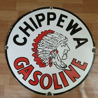 Chippewa Gasoline Vintage Porcelain Enamel Sign 15 Inches Round