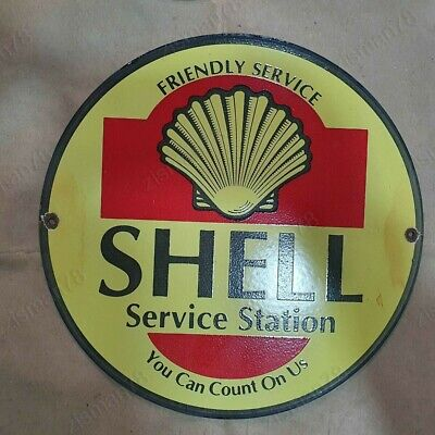 Shell Service Station Vintage Advertising Porcelain Enamel Sign 18 Inches Round