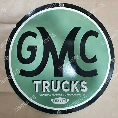 Old Gmc Trucks Vintage Enamel Porcelain Advertising Sign Board 15 Inches Round