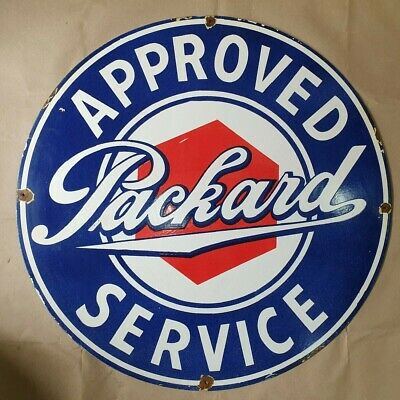 Packard Approved Service Vintage Porcelain Enamel Sign 12 Inches Round