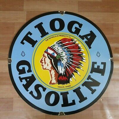 Tioga Gasoline Vintage Porcelain Enamel Advertising Sign Board 18 Inches Round