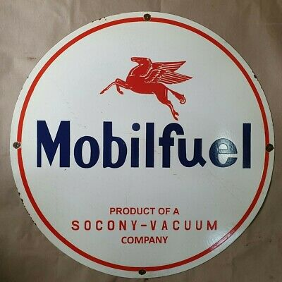 Mobil Fuel Socony Vacuum Vintage Porcelain Sign 12 Inches Round