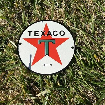Texaco Star Gasoline Vintage Porcelain Enamel Advertising Sign 12 Inches Round