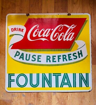 Drink Coca-Cola Fountain Vintage Advertising Porcelain Enamel Sign 14 X 14 Inche