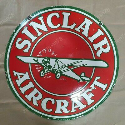 Sinclair Aircraft Red Vintage Advertising Porcelain Enamel Sign 18 Inches Round