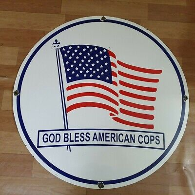 American Cops Vintage Porcelain Enamel Sign 15 Inches Round