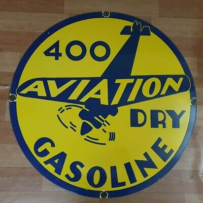 400 Dry Aviation Vintage Porcelain Enamel Sign 15 Inches Round