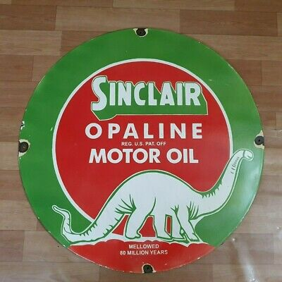 Sinclair Opaline Motor Oil Vintage Advertising Porcelain Enamel Sign 18 Inches