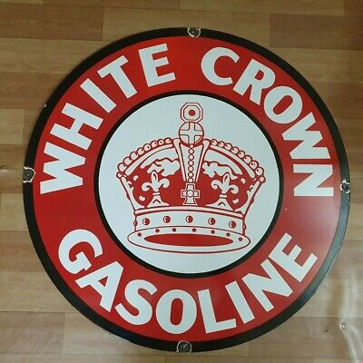 White Crown Gasoline Vintage Porcelain Enamel Sign 15 Inches Round
