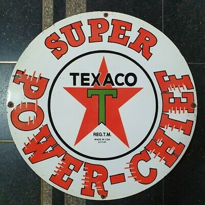 Texaco Super Power Chief Vintage Enamel Porcelain Advertise Sign 18 Inches Round