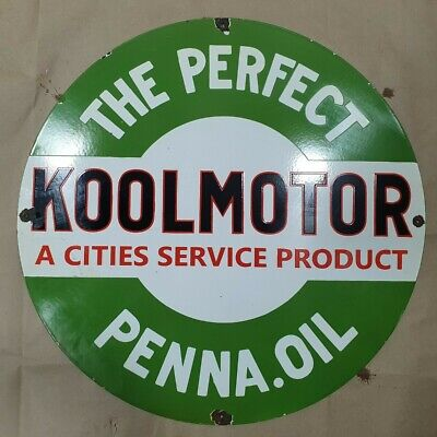 Koolmotor Oil Cities Vintage Enamel Porcelain Advertising Sign 15 Inches Round
