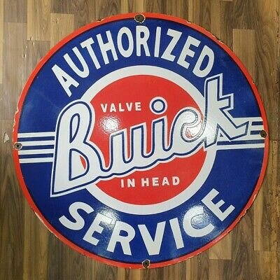 Authorized Buick Service Vintage Porcelain Sign 12 Inches Round