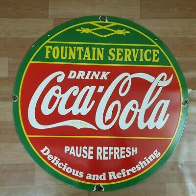 Coca Cola Fountain Vintage Porcelain Enamel Old Advertising Sign 18 Inches Round
