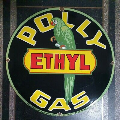 Old Polly Gas Ethyl Vintage Enamel Porcelain Advertising Sign 18 Inches Round