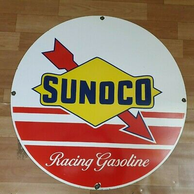 Sunoco Racing Gasoline Vintage Porcelain Enamel Sign 15 Inches Round