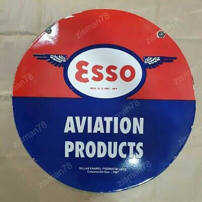 Esso Aviation Products Vintage Advertising Porcelain Enamel Sign 18 Inches Round