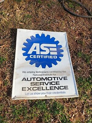 Vintage ASE Certified Sign - Parts Specialist - Metal 23x31 Garage Shop Man Cave