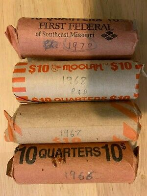 US Quarters 1966 - 1970  4 Rolls.  1966, 1967, 1968 & 1970.  Over 50 years old!