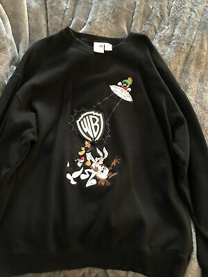 Vintage 90 Warner Brothers Looney Tunes Embroidered Black Crew Neck SweatshirtXL