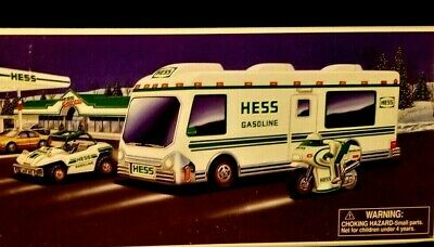 1998 HESS RECREATION VAN W/DUNE BUGGY AND MOTORCYCLE Brand New in Box