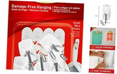 Wire Hooks Value Pack, Small, White, 9-Hooks (17067-9ES), Organize Damage-Free