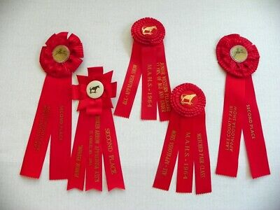 5 Early 60'S Vintage Red Rosette Horse Show Ribbons, Awards, Appalossa
