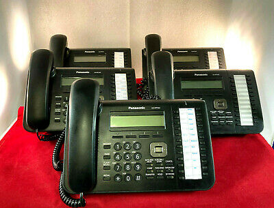 Lot of 5 Panasonic KX-NT543 Black IP Business Telephones 3-Lines 24 Buttons