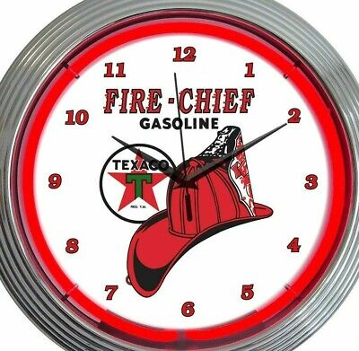 Texaco Fire Chief Gasoline Neon Clock 15 Inch Office Home Bar Business