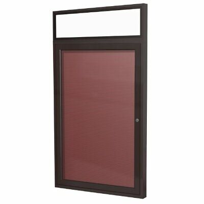 "Ghent 3"" x 2"" 1 Door Enclosed Flannel Letter Board Burgundy PBBL2-BG"