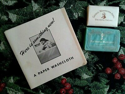 VTG 1948 George Washington Hotel Paper Washcloth soap memorabilia souvenir RARE