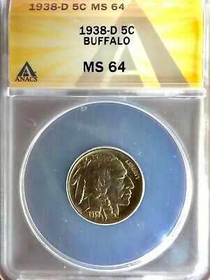 1938 D Buffalo Nickel Ms 64 Authenticated By Anacs 6146903