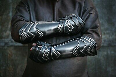 Pair of bracers for dwarf cosplay costume, larp armor, the hobbit, middle ages