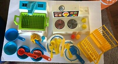 Vintage Fisher Price Kitchen Fun With Food 80s Dishes Pots More 47 00 Picclick