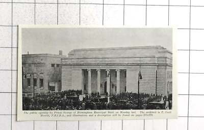 1933 Public Opening By Prince George At Birmingham Municipal Bank